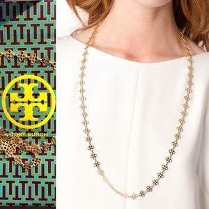 Tory Burch Gold plated mini clover necklace 32.5""
